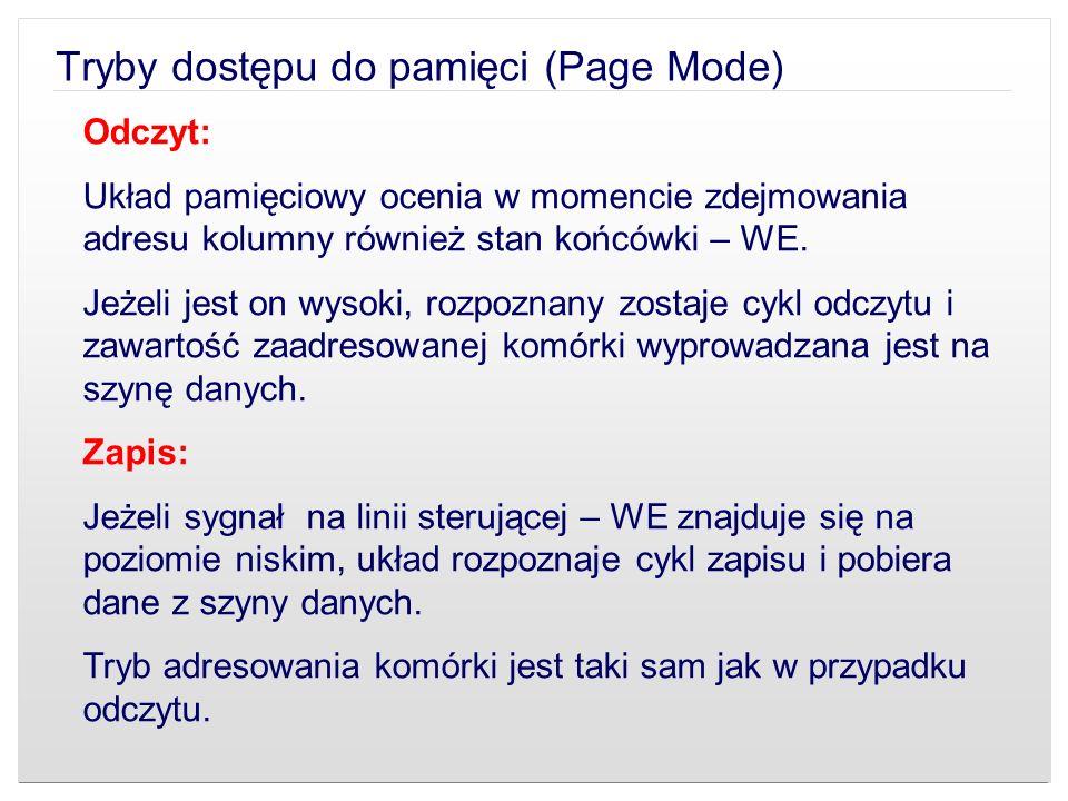 Tryby dostępu do pamięci (Page Mode) Odczyt: Układ pamięciowy ocenia w momencie zdejmowania adresu kolumny również stan końcówki – WE. Jeżeli jest on