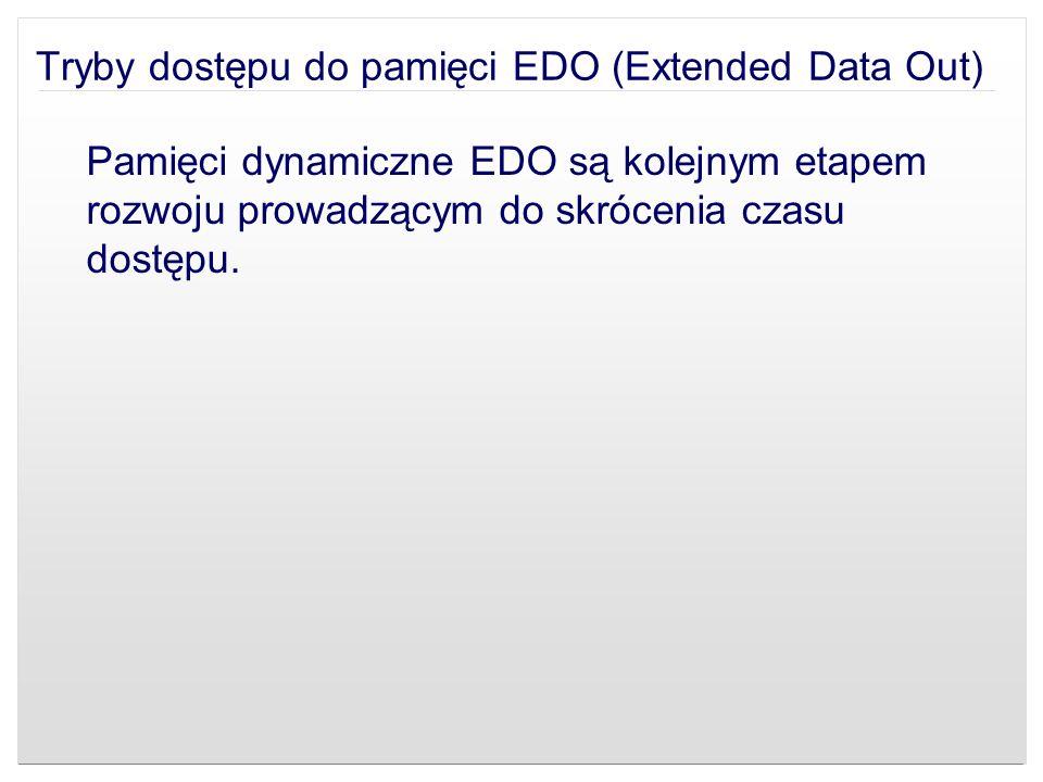 Tryby dostępu do pamięci EDO (Extended Data Out) Pamięci dynamiczne EDO są kolejnym etapem rozwoju prowadzącym do skrócenia czasu dostępu.