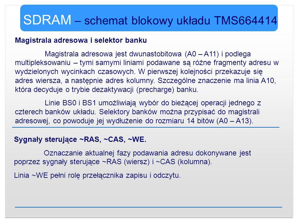 SDRAM – schemat blokowy układu TMS664414 Magistrala adresowa i selektor banku Magistrala adresowa jest dwunastobitowa (A0 – A11) i podlega multiplekso