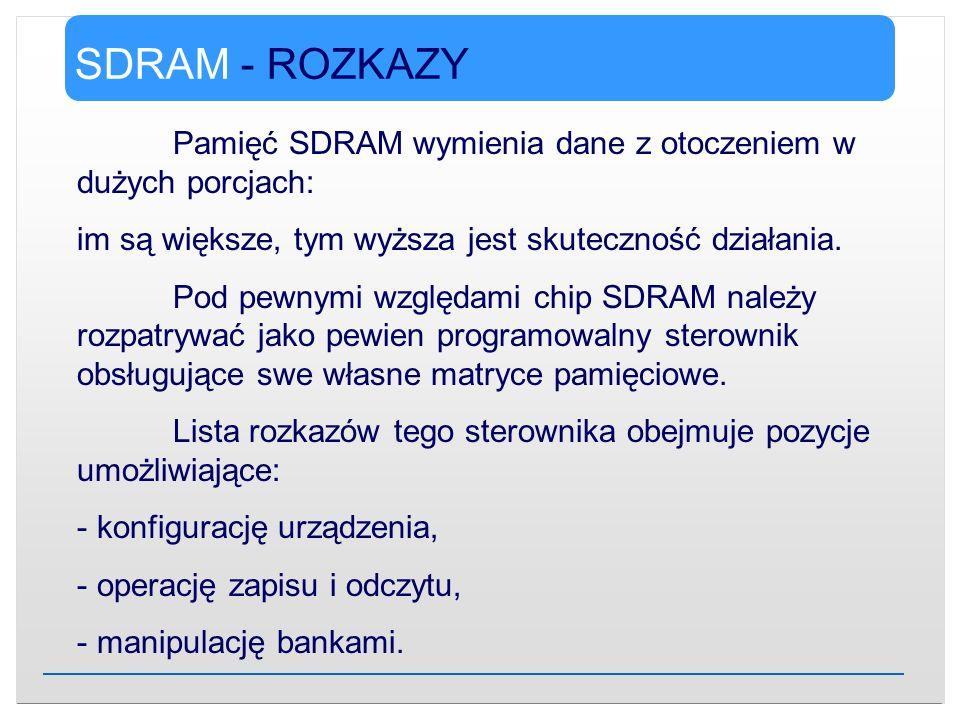 SDRAM - ROZKAZY Pamięć SDRAM wymienia dane z otoczeniem w dużych porcjach: im są większe, tym wyższa jest skuteczność działania. Pod pewnymi względami