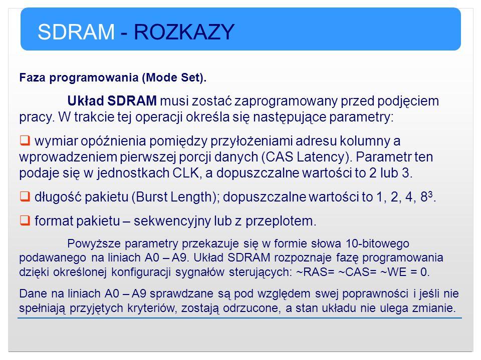 SDRAM - ROZKAZY Faza programowania (Mode Set). Układ SDRAM musi zostać zaprogramowany przed podjęciem pracy. W trakcie tej operacji określa się następ