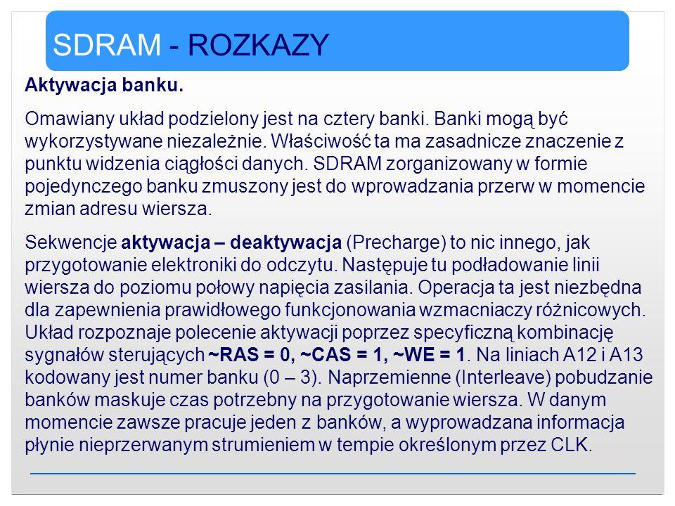 SDRAM - ROZKAZY Aktywacja banku. Omawiany układ podzielony jest na cztery banki. Banki mogą być wykorzystywane niezależnie. Właściwość ta ma zasadnicz