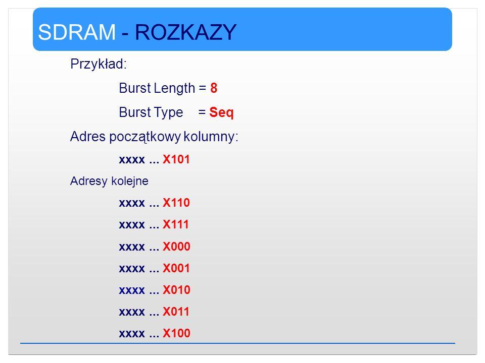 SDRAM - ROZKAZY Przykład: Burst Length = 8 Burst Type = Seq Adres początkowy kolumny: xxxx... X101 Adresy kolejne xxxx... X110 xxxx... X111 xxxx... X0
