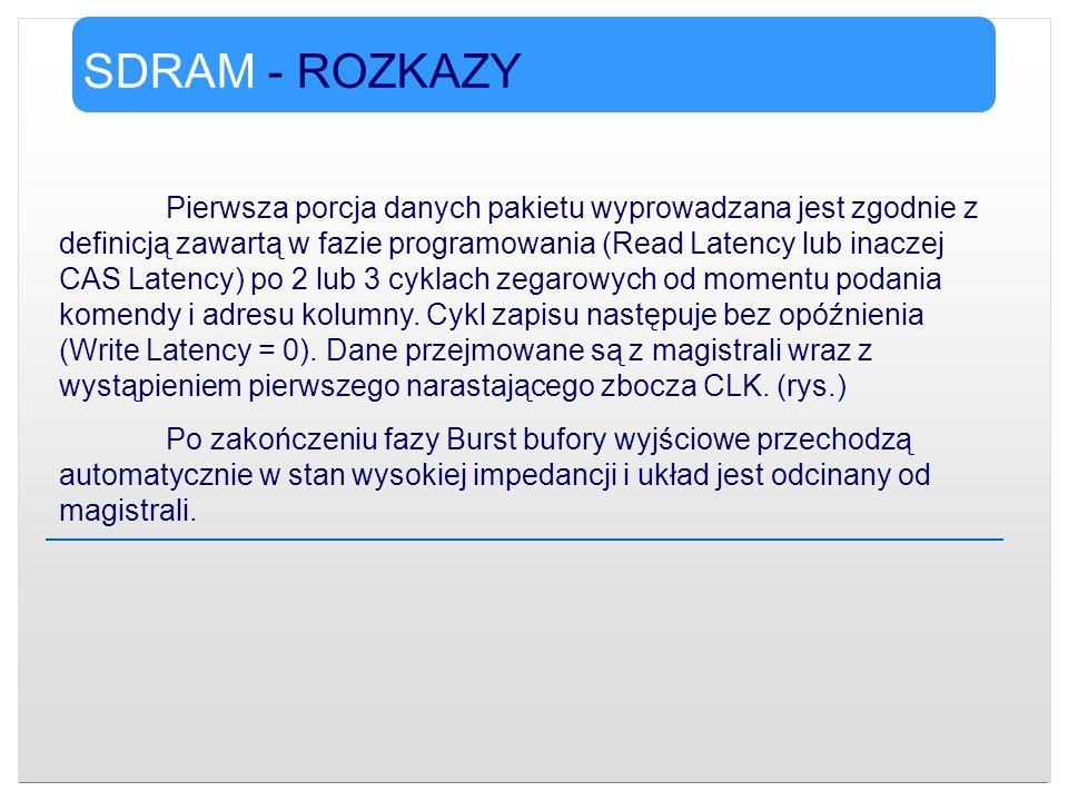 SDRAM - ROZKAZY Pierwsza porcja danych pakietu wyprowadzana jest zgodnie z definicją zawartą w fazie programowania (Read Latency lub inaczej CAS Laten