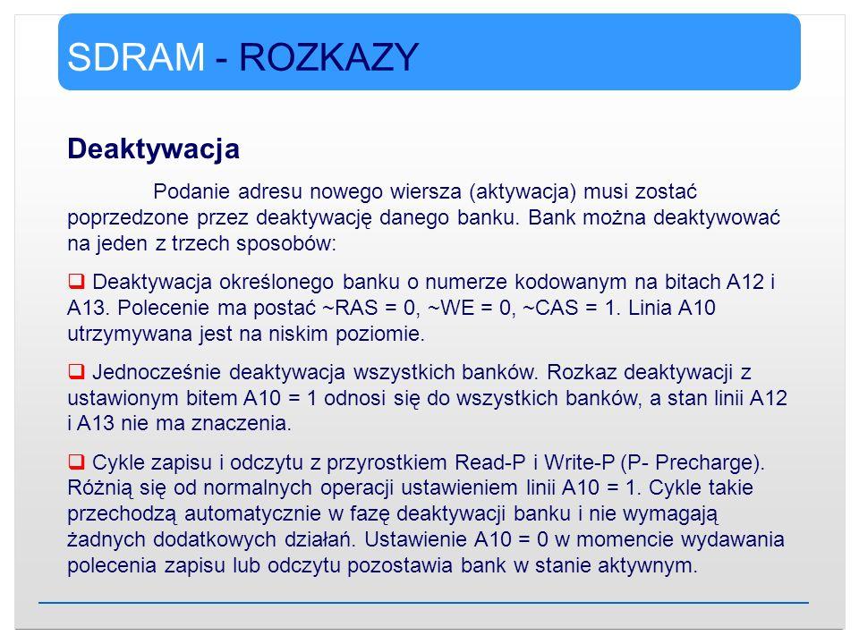 SDRAM - ROZKAZY Deaktywacja Podanie adresu nowego wiersza (aktywacja) musi zostać poprzedzone przez deaktywację danego banku. Bank można deaktywować n