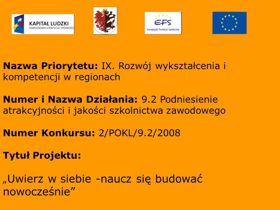 Nazwa Priorytetu: IX. Rozwój wykształcenia i kompetencji w regionach Numer i Nazwa Działania: 9.2 Podniesienie atrakcyjności i jakości szkolnictwa zaw