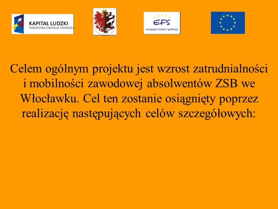 Celem ogólnym projektu jest wzrost zatrudnialności i mobilności zawodowej absolwentów ZSB we Włocławku.