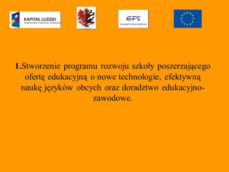 1.Stworzenie programu rozwoju szkoły poszerzającego ofertę edukacyjną o nowe technologie, efektywną naukę języków obcych oraz doradztwo edukacyjno- zawodowe.
