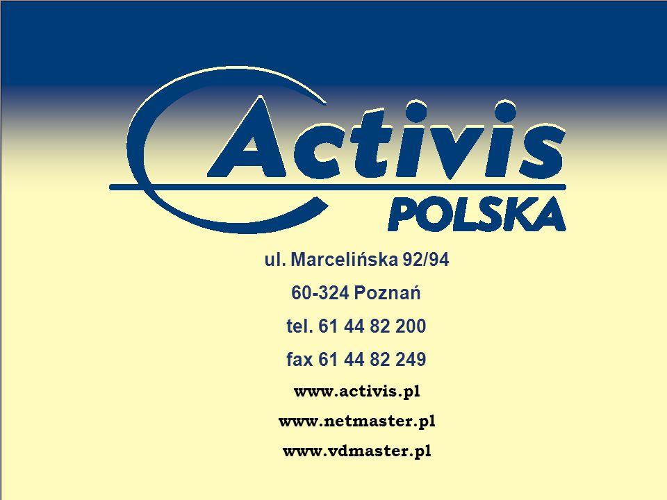 ul. Marcelińska 92/94 60-324 Poznań tel. 61 44 82 200 fax 61 44 82 249 www.activis.pl www.netmaster.pl www.vdmaster.pl
