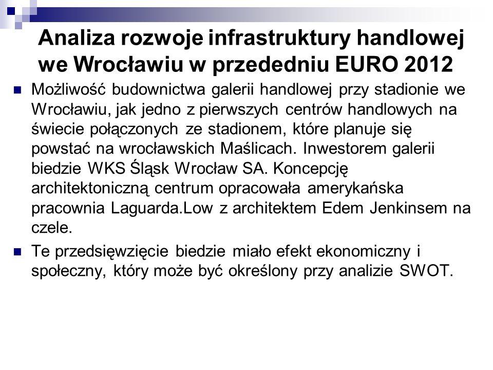Analiza rozwoje infrastruktury handlowej we Wrocławiu w przededniu EURO 2012 Możliwość budownictwa galerii handlowej przy stadionie we Wrocławiu, jak jedno z pierwszych centrów handlowych na świecie połączonych ze stadionem, które planuje się powstać na wrocławskich Maślicach.