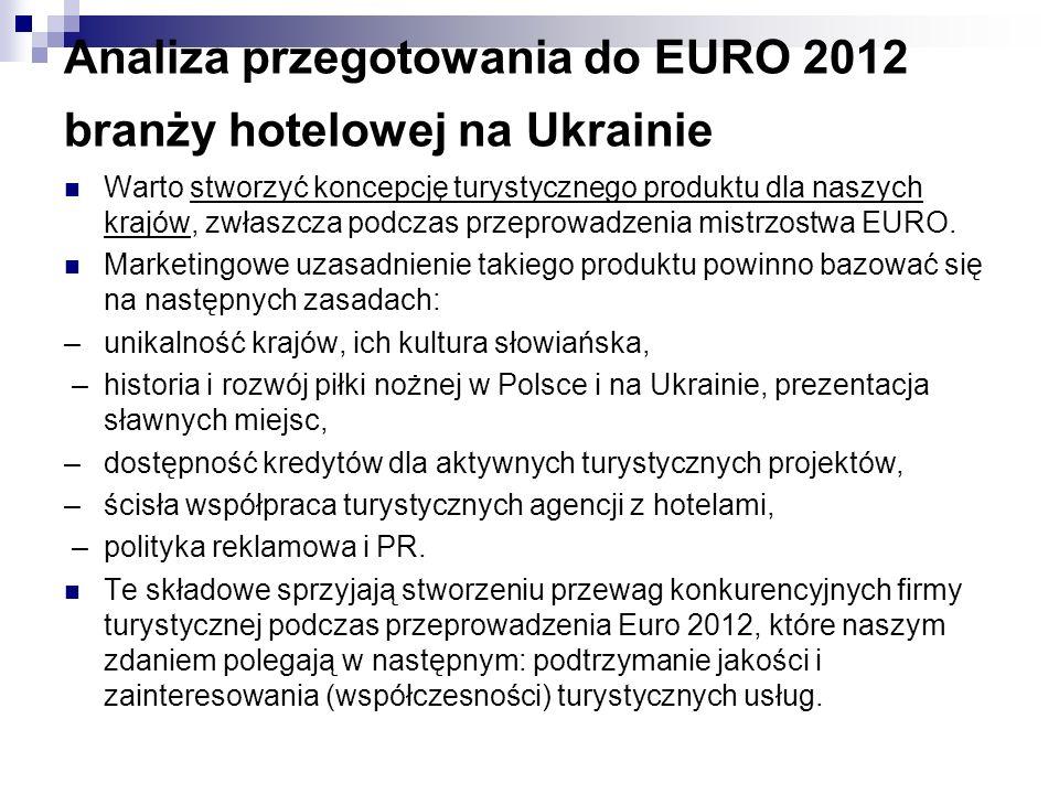 Analiza przegotowania do EURO 2012 branży hotelowej na Ukrainie Warto stworzyć koncepcję turystycznego produktu dla naszych krajów, zwłaszcza podczas przeprowadzenia mistrzostwa EURO.