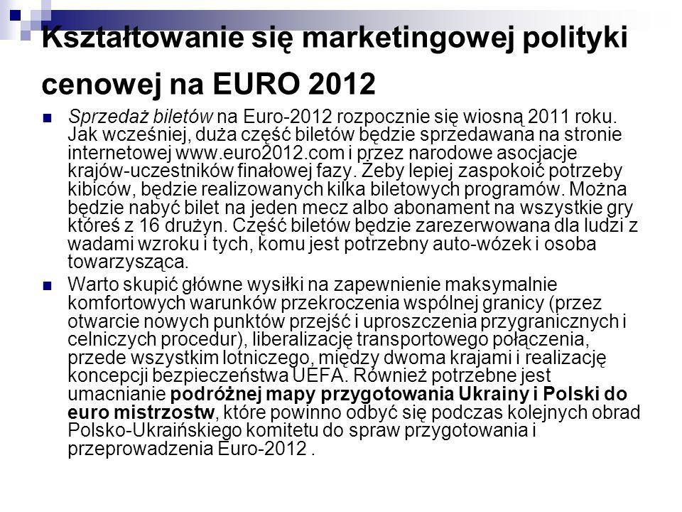 Kształtowanie się marketingowej polityki cenowej na EURO 2012 Sprzedaż biletów na Euro-2012 rozpocznie się wiosną 2011 roku.