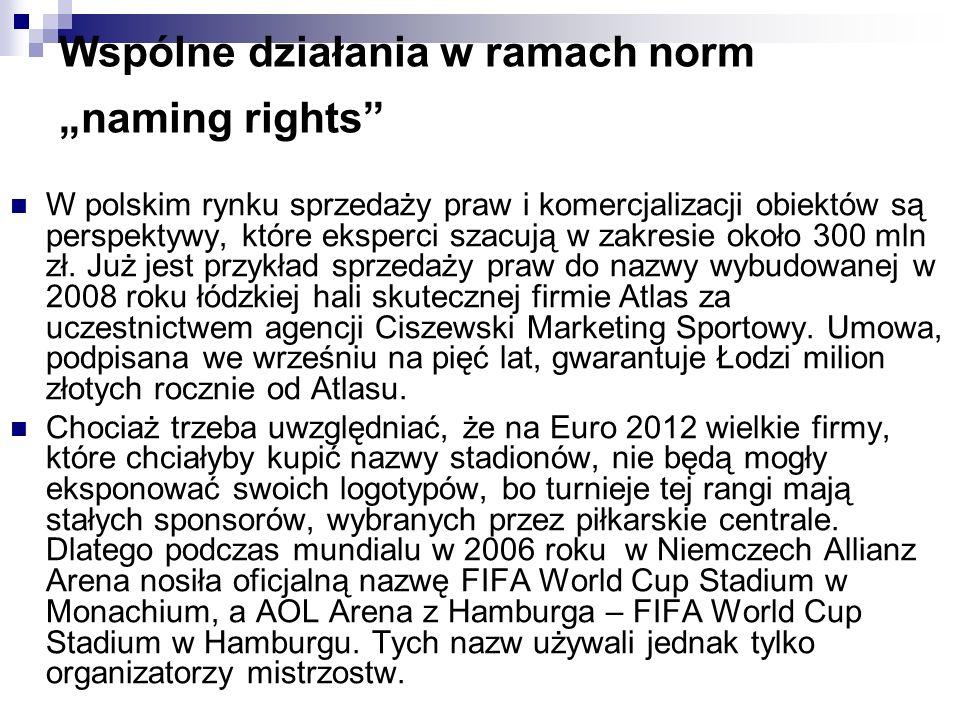 Wspólne działania w ramach norm naming rights W polskim rynku sprzedaży praw i komercjalizacji obiektów są perspektywy, które eksperci szacują w zakresie około 300 mln zł.