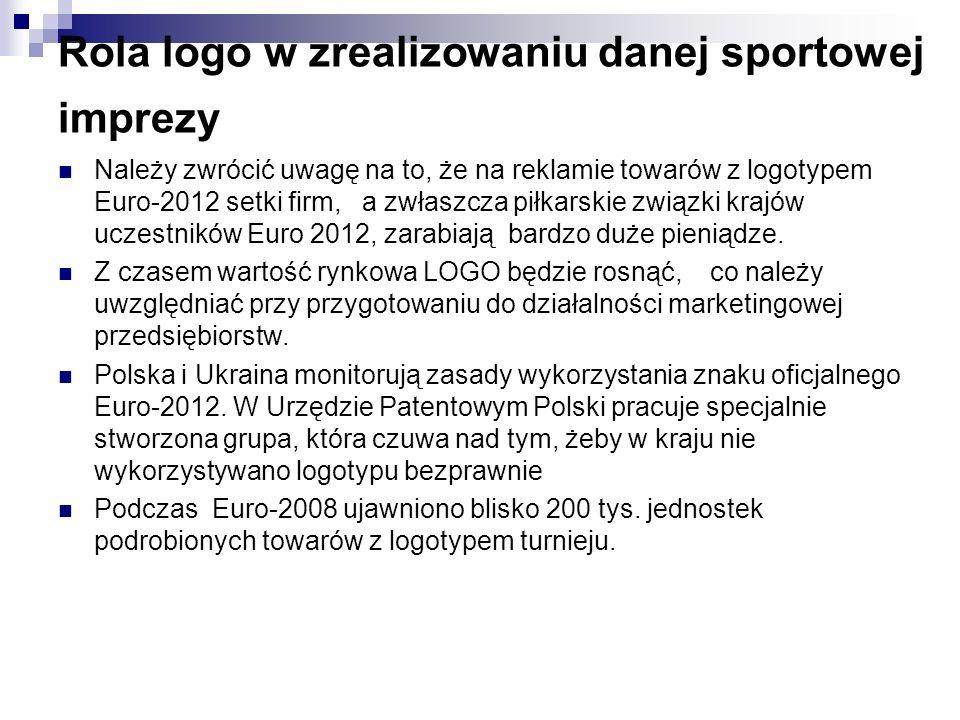 Rola logo w zrealizowaniu danej sportowej imprezy Należy zwrócić uwagę na to, że na reklamie towarów z logotypem Euro-2012 setki firm, a zwłaszcza piłkarskie związki krajów uczestników Euro 2012, zarabiają bardzo duże pieniądze.