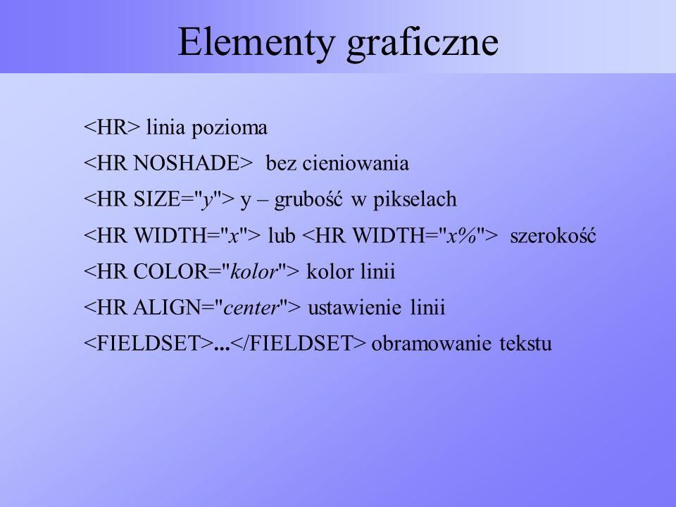 Elementy graficzne linia pozioma bez cieniowania y – grubość w pikselach lub szerokość kolor linii ustawienie linii... obramowanie tekstu