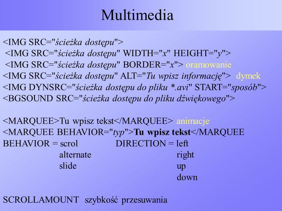 Multimedia oramowanie dymek Tu wpisz tekst animacje Tu wpisz tekst</MARQUEE BEHAVIOR = scrolDIRECTION = left alternate right slide up down SCROLLAMOUN