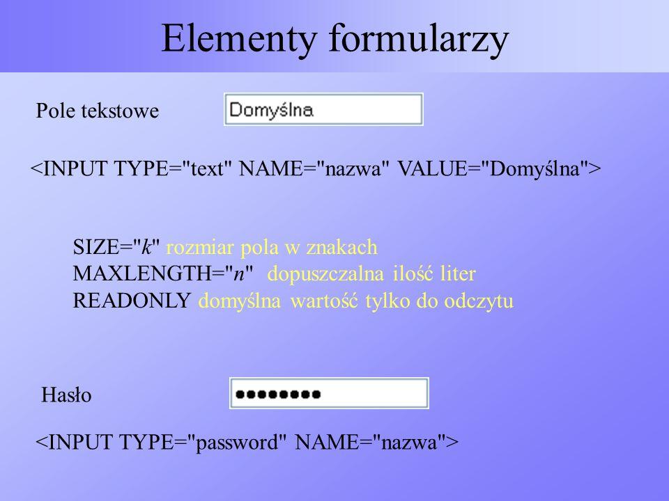 Elementy formularzy Pole tekstowe SIZE=