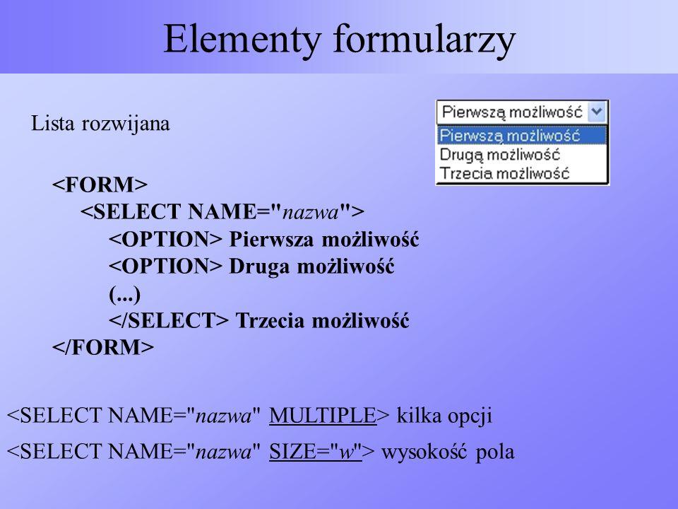 Elementy formularzy Lista rozwijana Pierwsza możliwość Druga możliwość (...) Trzecia możliwość kilka opcji wysokość pola