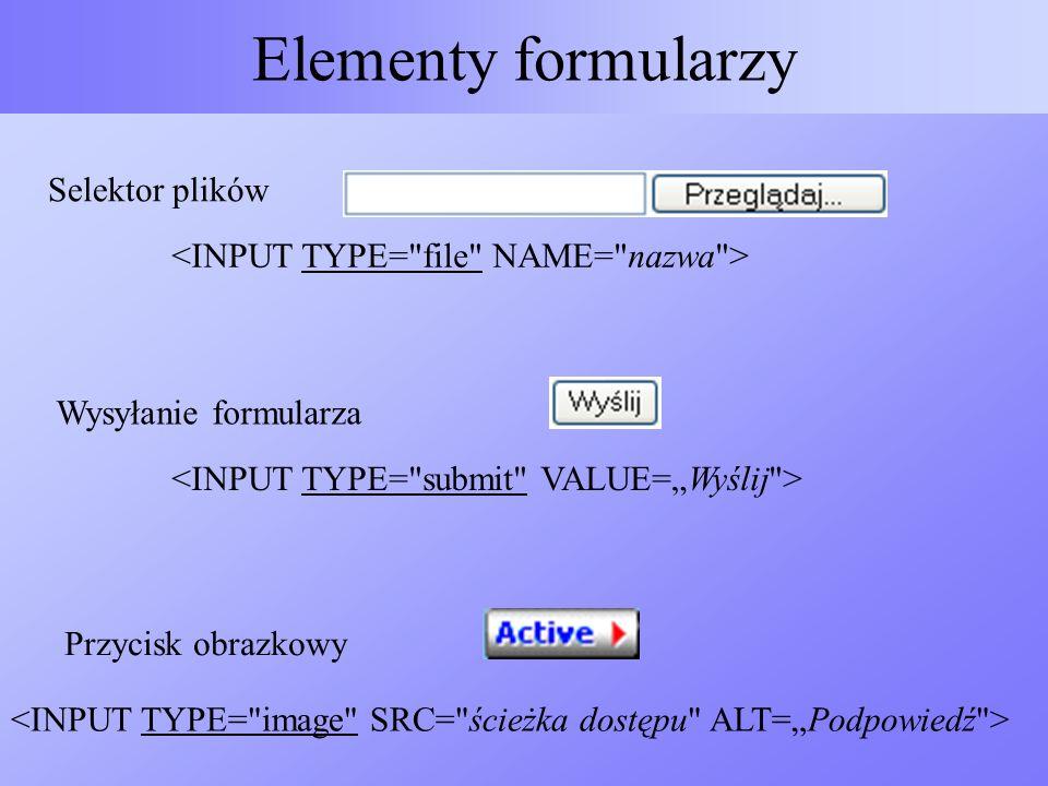 Elementy formularzy Selektor plików Wysyłanie formularza Przycisk obrazkowy