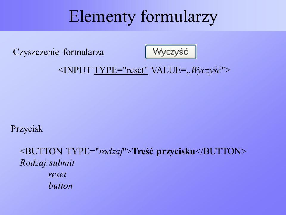 Elementy formularzy Czyszczenie formularza Treść przycisku Rodzaj:submit reset button Przycisk