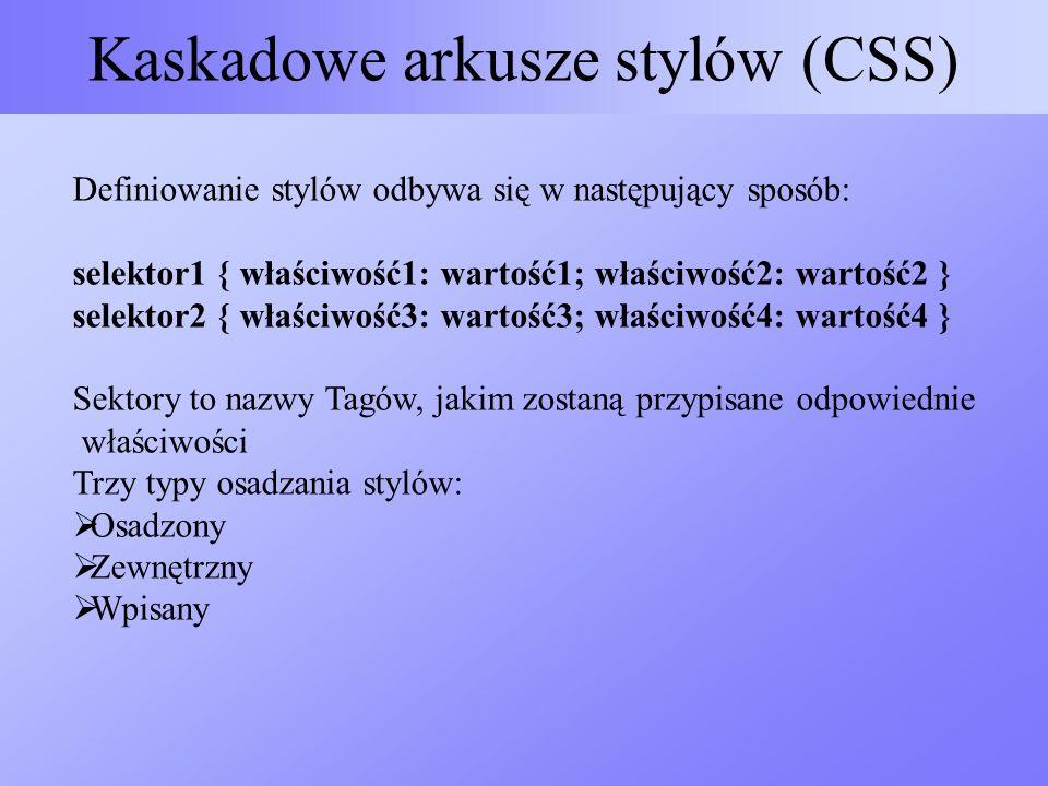 Kaskadowe arkusze stylów (CSS) Definiowanie stylów odbywa się w następujący sposób: selektor1 { właściwość1: wartość1; właściwość2: wartość2 } selekto