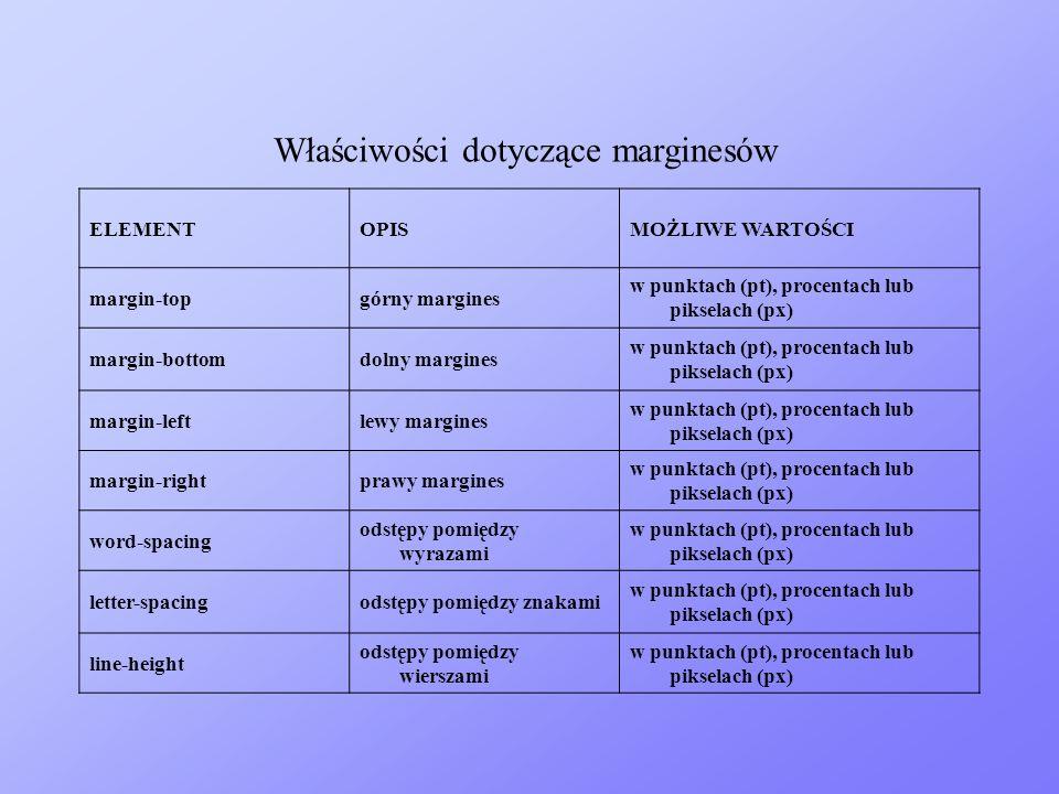 ELEMENTOPISMOŻLIWE WARTOŚCI margin-topgórny margines w punktach (pt), procentach lub pikselach (px) margin-bottomdolny margines w punktach (pt), proce