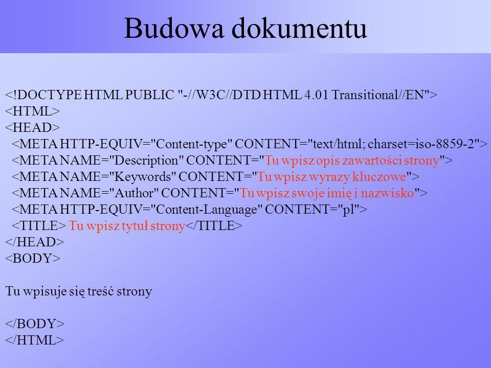 Tu wpisz tytuł strony Tu wpisuje się treść strony Budowa dokumentu
