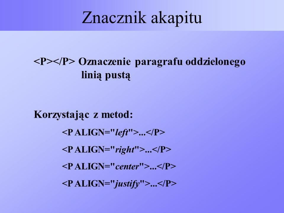 Znacznik akapitu Oznaczenie paragrafu oddzielonego linią pustą Korzystając z metod:...