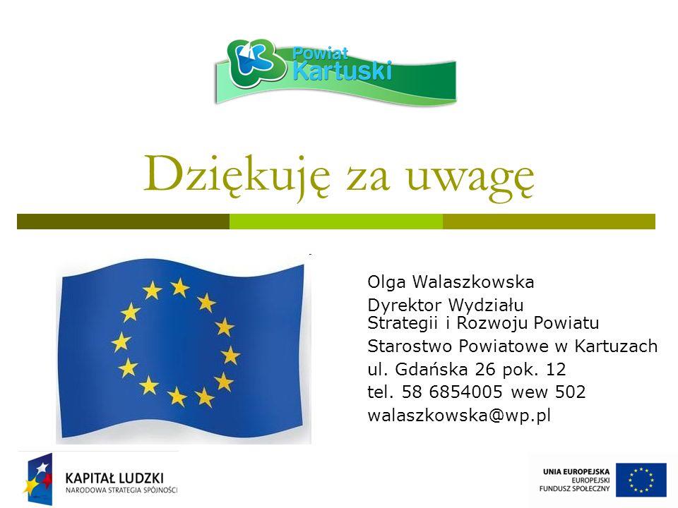 Dziękuję za uwagę Olga Walaszkowska Dyrektor Wydziału Strategii i Rozwoju Powiatu Starostwo Powiatowe w Kartuzach ul.