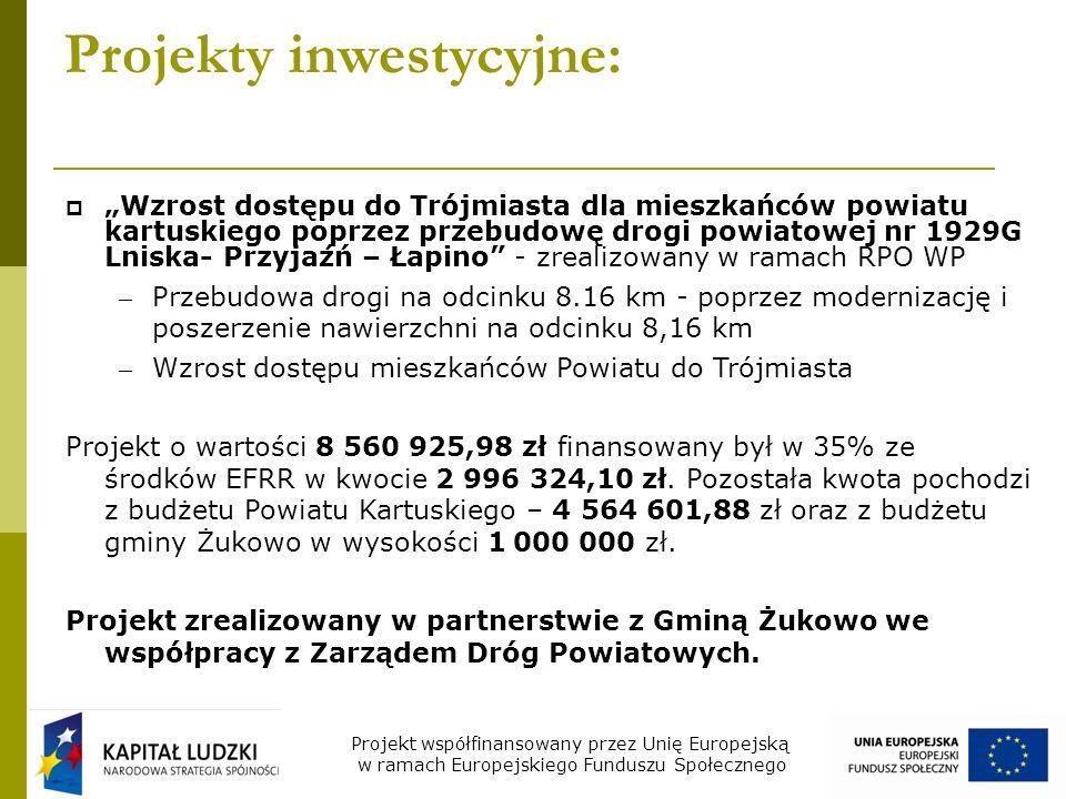 Projekty inwestycyjne: Przebudowa i budowa drogi na odcinku Sierakowice – Paczewo - Bącka Huta - współfinansowany w ramach RPO WP – Wartość projektu – 2.000.000,00 zł – Dofinansowanie EFRR – 461 800,00 zł Projekt współfinansowany przez Unię Europejską w ramach Europejskiego Funduszu Społecznego