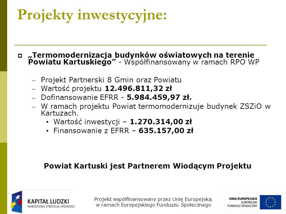Projekty inwestycyjne: Poprawa efektywności systemu ochrony zdrowia w Powiecie Kartuskim poprzez zakup ambulansów na potrzeby oddziału ratunkowego - Współfinansowany w ramach Programu Operacyjnego Infrastruktura i środowisko – W ramach projektu zakupiono 2 nowoczesne Ambulanse na potrzeby Oddziału Ratunkowego Powiatowego Centrum Zdrowia w Kartuzach – Wartość projektu – 867 395,36 zł – Finansowanie z EFRR – 670.955,49 zł Projekt współfinansowany przez Unię Europejską w ramach Europejskiego Funduszu Społecznego
