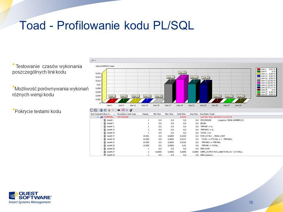 10 Toad - Profilowanie kodu PL/SQL Testowanie czasów wykonania poszczególnych linii kodu Możliwość porównywania wykonań różnych wersji kodu Pokrycie t