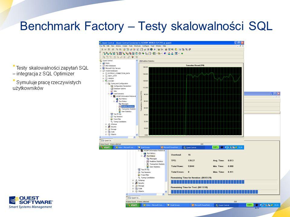 20 Benchmark Factory – Testy skalowalności SQL Testy skalowalności zapytań SQL – integracja z SQL Optimizer Symuluje pracę rzeczywistych użytkowników