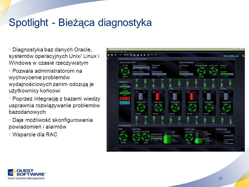 25 Spotlight - Bieżąca diagnostyka Diagnostyka baz danych Oracle, systemów operacyjnych Unix/ Linux i Windows w czasie rzeczywistym Pozwala administra