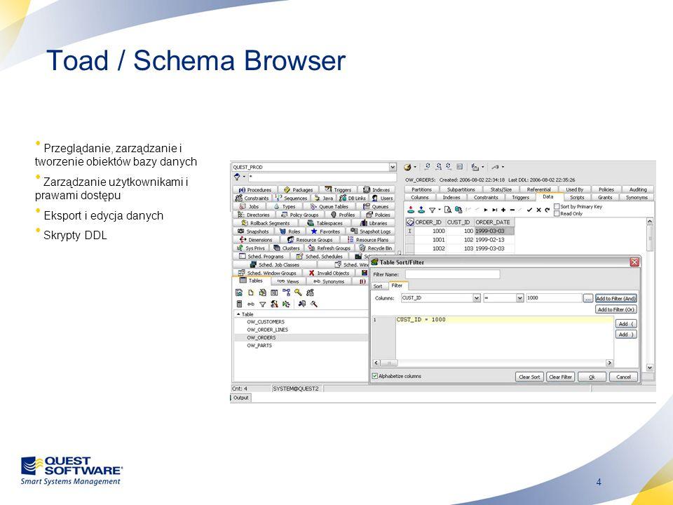 5 Toad / Query Builder Pisanie zapytań SQL poprzez klikanie i przeciąganie myszą tabel Możliwość tworzenia modeli ze skryptów SQL Wybór typu zapytania : select, insert, update, delete Przeciągnij obiekty aby wyświetlić i wybrać kolumny Kolumny PK i FK są łączone automatycznie Przeciągnij kolumny aby utworzyć dodatkowe połączenia