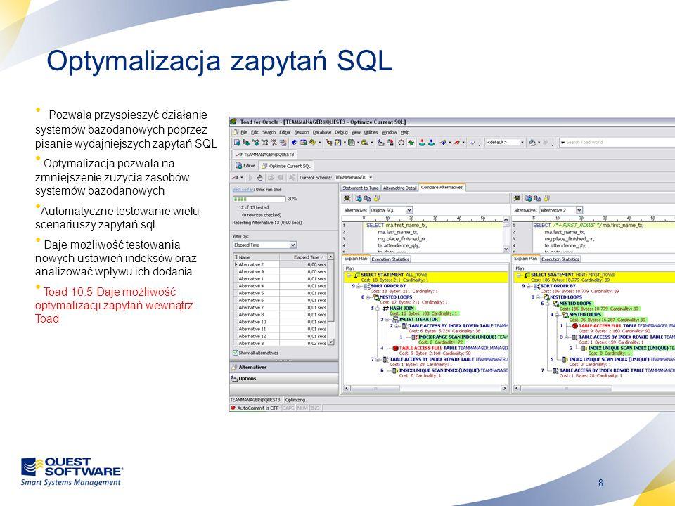 8 Optymalizacja zapytań SQL Pozwala przyspieszyć działanie systemów bazodanowych poprzez pisanie wydajniejszych zapytań SQL Optymalizacja pozwala na z