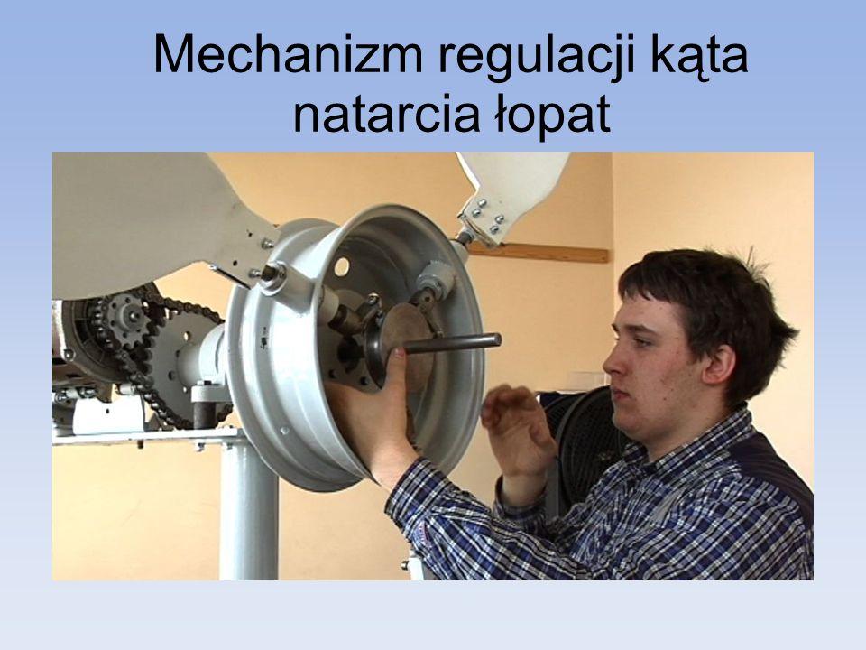 Mechanizm regulacji kąta natarcia łopat