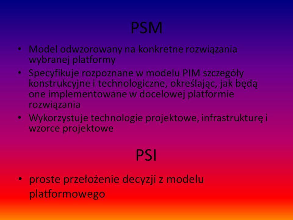 PSM Model odwzorowany na konkretne rozwiązania wybranej platformy Specyfikuje rozpoznane w modelu PIM szczegóły konstrukcyjne i technologiczne, określ