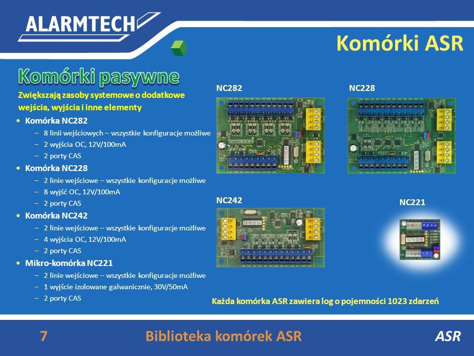 6Biblioteka komórek ASRASR Komórki ASR PS ViP, akumulator Komórka NC388ps z zasilaczem –8 linii wejściowych – wszystkie konfiguracje możliwe –4 linie