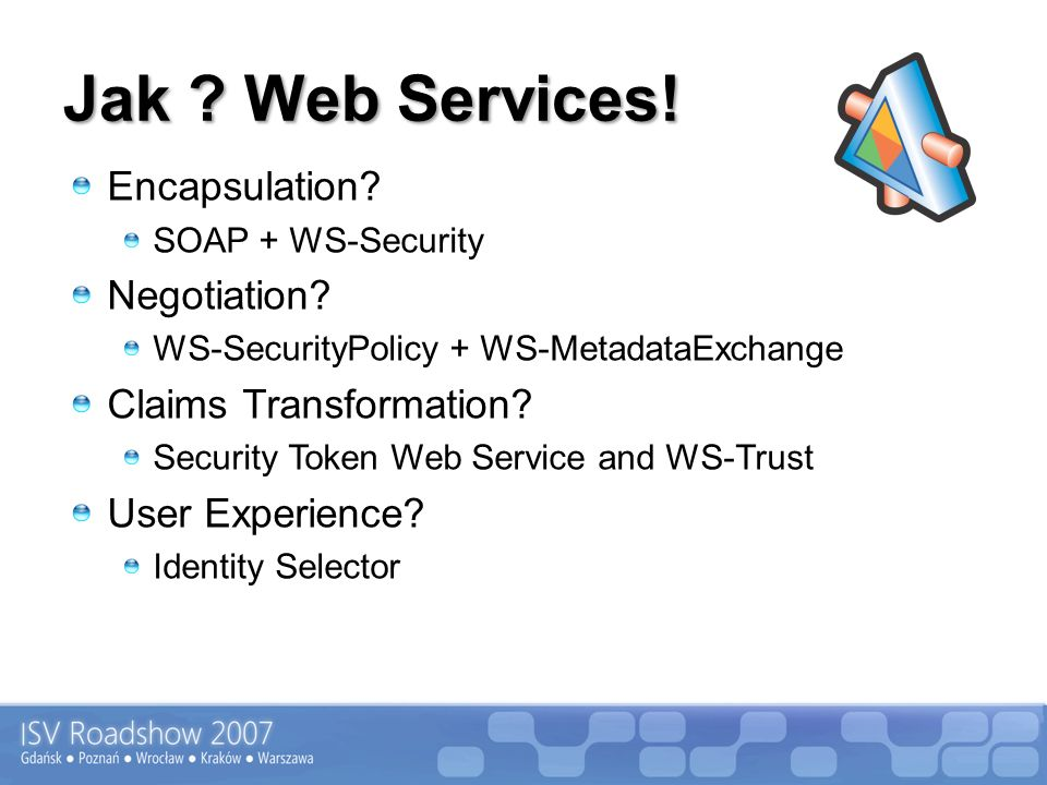 Jak ? Web Services! Encapsulation? SOAP + WS-Security Negotiation? WS-SecurityPolicy + WS-MetadataExchange Claims Transformation? Security Token Web S