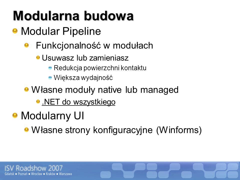 Modularna budowa Modular Pipeline Funkcjonalność w modułach Usuwasz lub zamieniasz Redukcja powierzchni kontaktu Większa wydajność Własne moduły native lub managed.NET do wszystkiego Modularny UI Własne strony konfiguracyjne (Winforms)