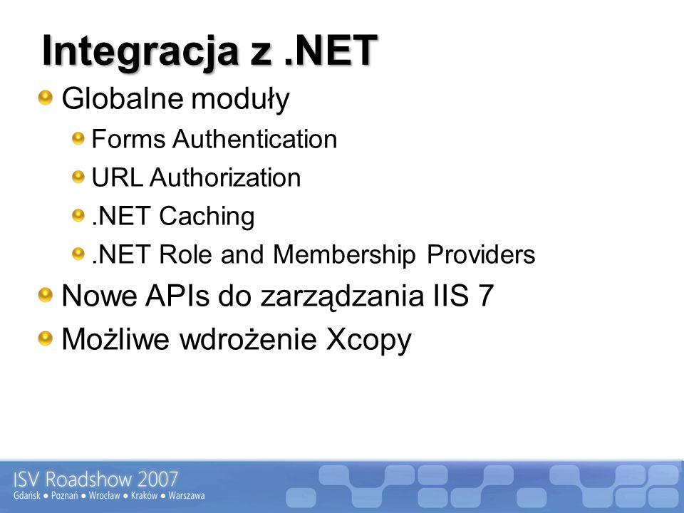 Integracja z.NET Globalne moduły Forms Authentication URL Authorization.NET Caching.NET Role and Membership Providers Nowe APIs do zarządzania IIS 7 Możliwe wdrożenie Xcopy