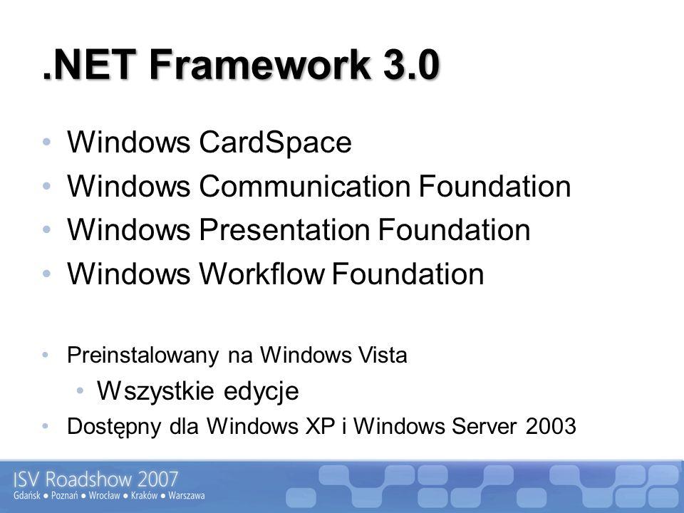.NET Framework 3.0 Windows CardSpace Windows Communication Foundation Windows Presentation Foundation Windows Workflow Foundation Preinstalowany na Wi