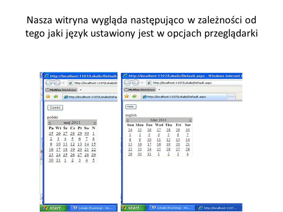 Nasza witryna wygląda następująco w zależności od tego jaki język ustawiony jest w opcjach przeglądarki