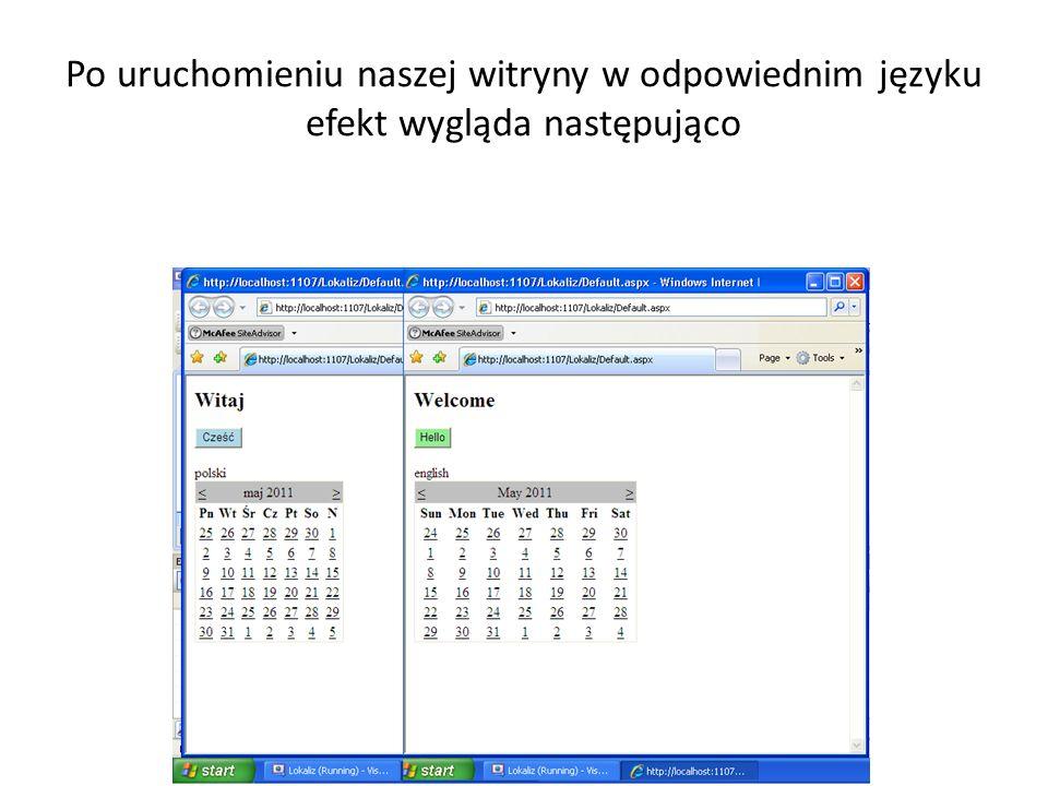 Po uruchomieniu naszej witryny w odpowiednim języku efekt wygląda następująco