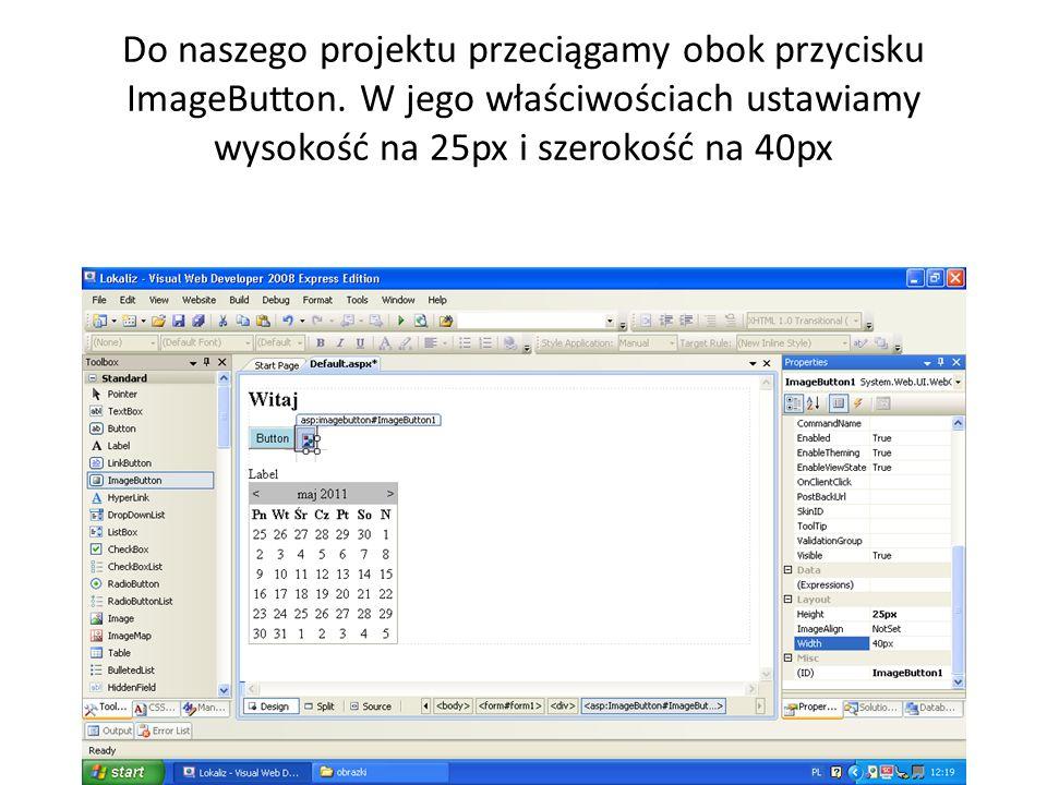 Do naszego projektu przeciągamy obok przycisku ImageButton.