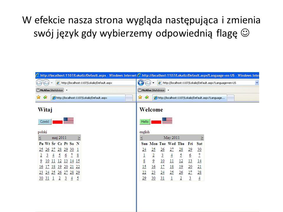 W efekcie nasza strona wygląda następująca i zmienia swój język gdy wybierzemy odpowiednią flagę