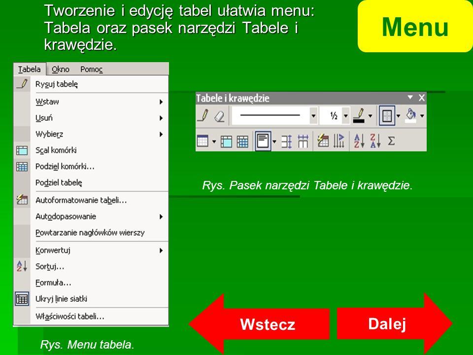 Tworzenie i edycję tabel ułatwia menu: Tabela oraz pasek narzędzi Tabele i krawędzie.