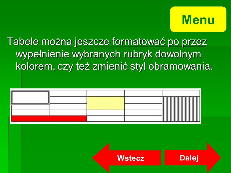 Tabele można jeszcze formatować po przez wypełnienie wybranych rubryk dowolnym kolorem, czy też zmienić styl obramowania.