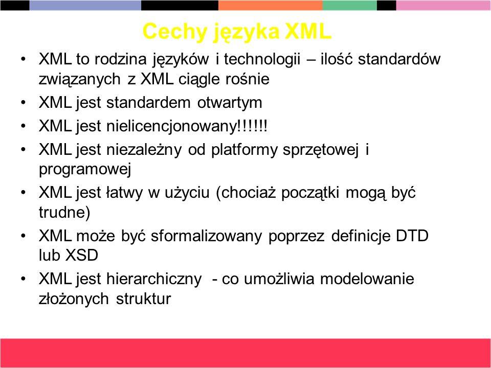 Cechy języka XML XML to rodzina języków i technologii – ilość standardów związanych z XML ciągle rośnie XML jest standardem otwartym XML jest nielicen